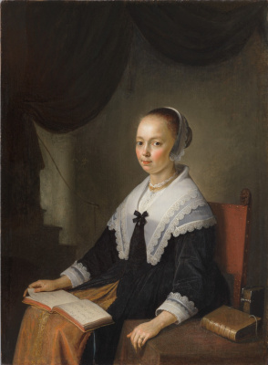 Gerrit (Gerard) Dow. Portrait of a seated lady with notes on his knees