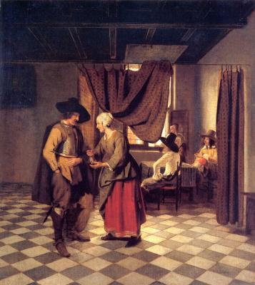 Pieter de Hooch. Paying the hostess