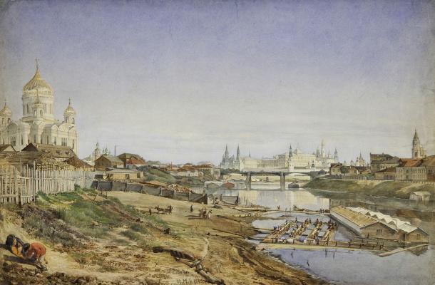 Вид на храм Христа Спасителя, Каменный мост и Кремль от набережной Москвы-реки