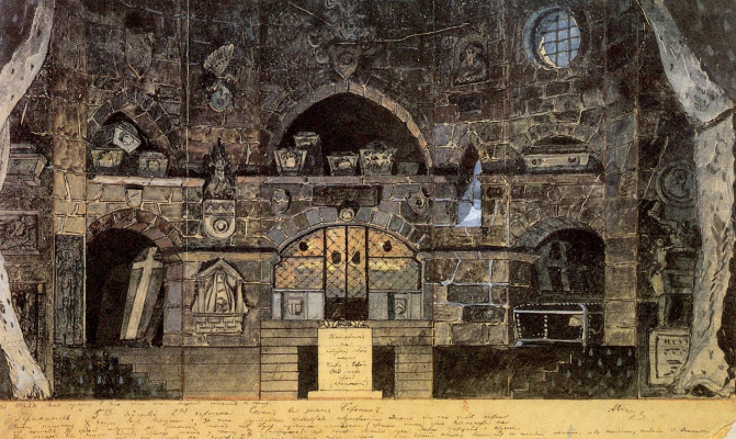 """Alexander Nikolaevich Benoit. A sketch of the scenery for the play """"the mother"""""""