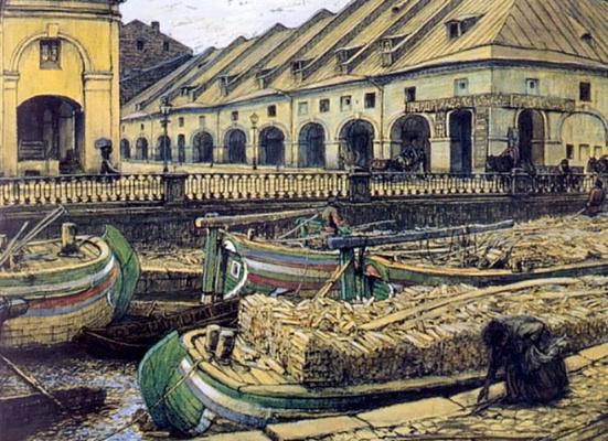 Evgeniy Evgenievich Lansere. The Nikolsky market in St. Petersburg
