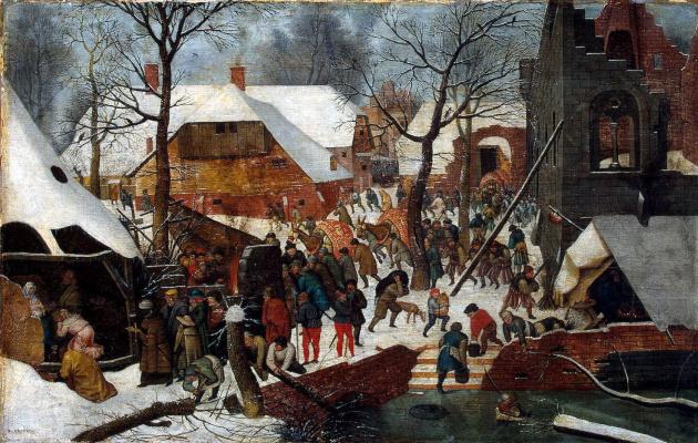 Pieter Bruegel The Elder. The adoration of the Magi in winter landscape