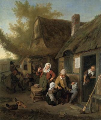 Корнелис Дюсарт. Крестьянская семья перед домом