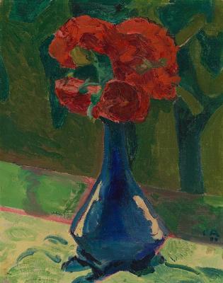 Куно Амье. Натюрморт с синей вазой на зеленом фоне