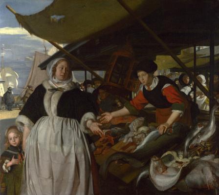 Эмануэль де Витте. Адриана ван Хойсден и дочь на рыбном рынке