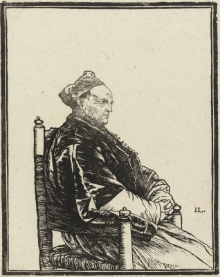 Jan Livens. Portrait sitting in the chair of the priest