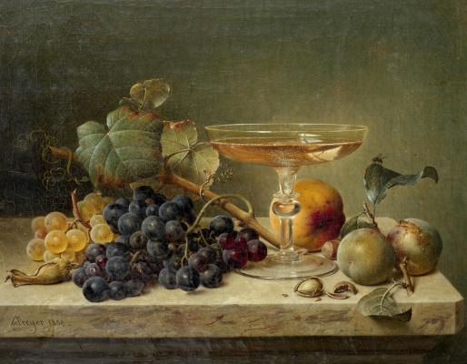 Иоганн Вильгельм Прейер. Натюрморт с фруктами, орехами и бокалом на мраморном карнизе. 1858