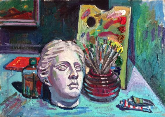 Marat Savelievich Gogaev. Still life with a cast of the head of Venus
