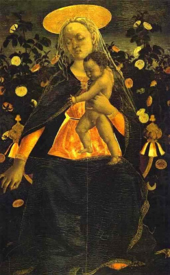 Доменико Венециано. Мадонна с младенцем в розовом саду