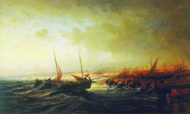 Alexey Petrovich Bogolyubov. View of Allacio. Pulling the boat. Italy