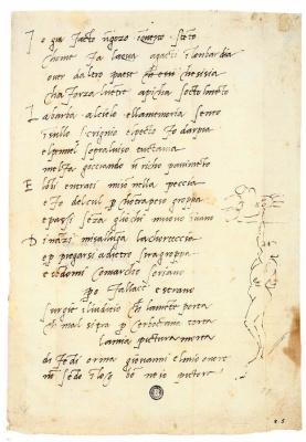 Микеланджело Буонарроти. Сонет Микеланджело с рисунком