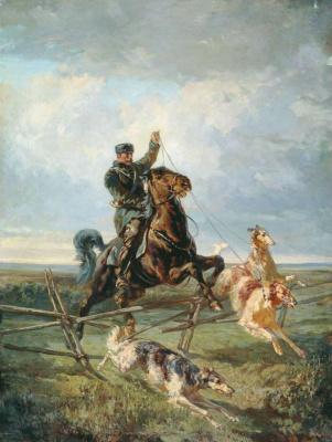 (1831-1918) Федорович Френц Рудольф. Егерь с тремя борзыми 1872