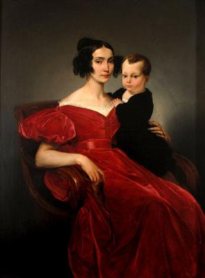 Франческо Айец. Портрет графини Терезы Зумали Марсили с сыном Джузеппе.  1833
