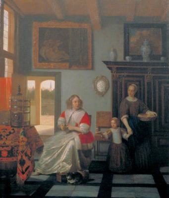 Питер де Хох. Женщина с вязанием, служанка и ребенок