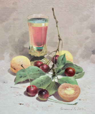 Vasily Ivanovich Gribennikov. Still life with apricots and cherries