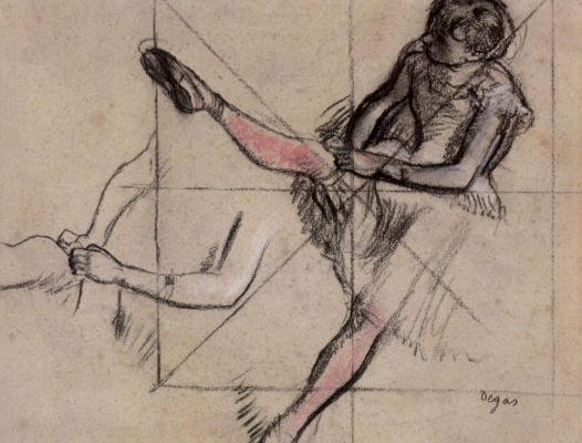 Edgar Degas. Sheet of sketches of a seated ballerina, combing tights