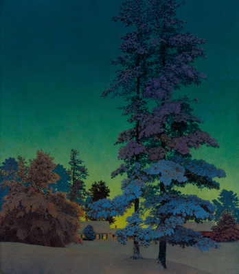 Maxfield Parrish. Winter night landscape with two pines
