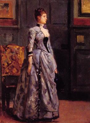 Alfred Emil-Leopold Stevens. Portrait of woman in blue