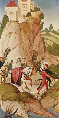 Рюланд Фрюауф Младший. Алтарь св. Леопольда, боковая створка: Выезд верхом св. Леопольда