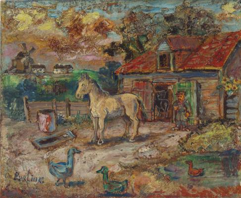 David Davidovich Burliuk. The farmer and the horse in the barnyard