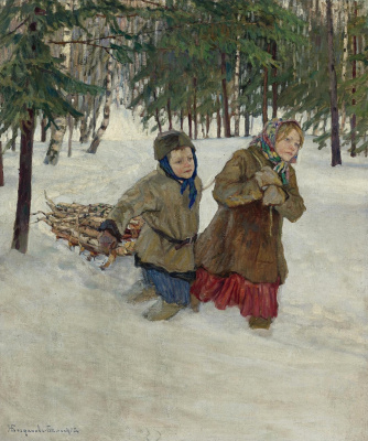 Carrying firewood in the snow