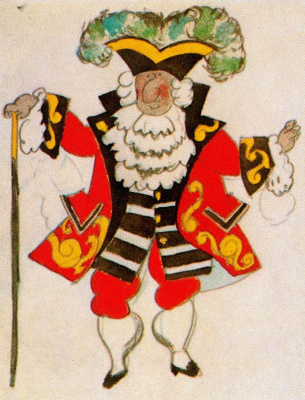 "Pablo Picasso. Costume design for ballet ""Tricorne"""