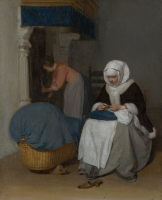 Gerard Terborch (ter Borch). Woman sews at the cradle