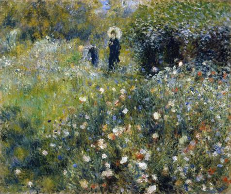 Pierre-Auguste Renoir. Woman with umbrella in the garden