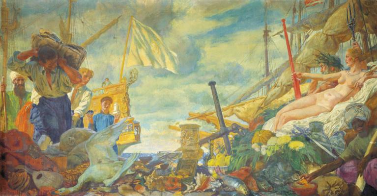 "Evgeniy Evgenievich Lansere. ""Overseas trade"". Panel for the dining room of the house Roslavlevyh in the estate Ust-Krestishche"