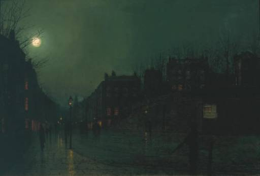 John Atkinson Grimshaw. Street at night