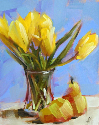 Angela Moulton. Yellow tulips and pears