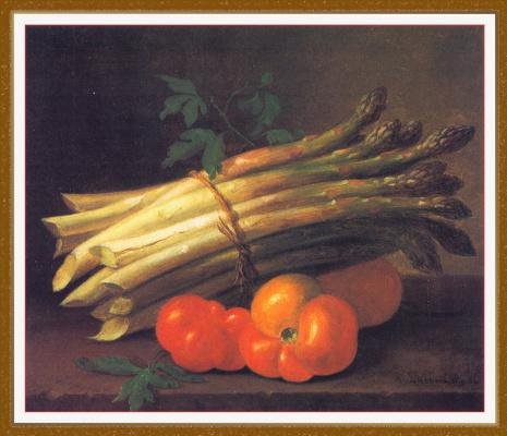 Натюрморт со спаржей и помидорами