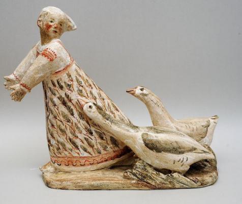 Zinaida Ivanovna Bushkova. Girl with geese