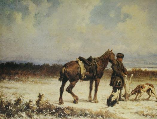 Петр Петрович Соколов. «Охотничья сцена» 1869