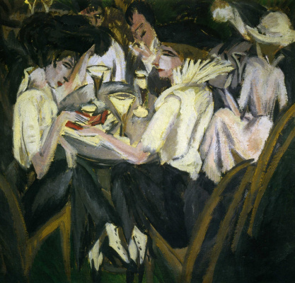 Ernst Ludwig Kirchner. The ladies in the cafe. On the terrace