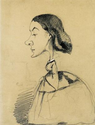 Клод Моне. Карикатура Молодая женщина за фортепиано