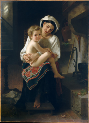 William-Adolphe Bouguereau. Young mother looks at the child