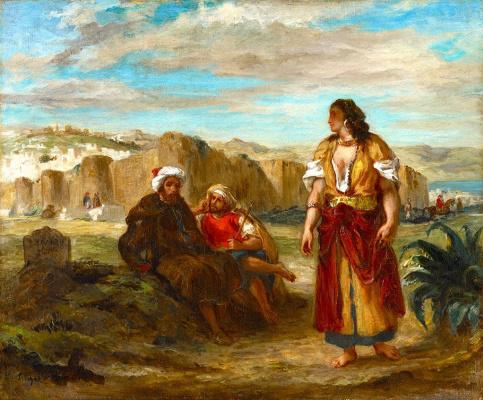 Эжен Делакруа. Вид на Танжер и два сидящих араба