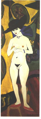 Ernst Ludwig Kirchner. Nude woman in black hat