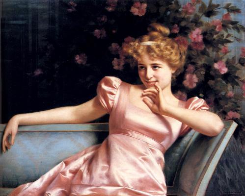 Vittorio Reggianini. Lady in pink dress