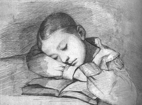 Gustave Courbet. Portrait of a sleeping baby Juliet