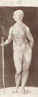 Альбрехт Дюрер. Стоящая обнаженная с палкой, повернувшаяся вправо