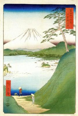 """Утагава Хиросигэ. Вид на Фудзи через озеро Мотосу провинции Каи. Серия """"36 видов Фудзи"""""""