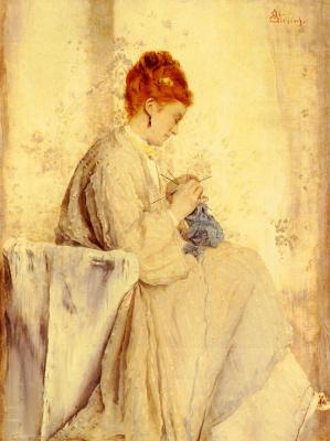 Alfred Emil-Leopold Stevens. Needlewoman
