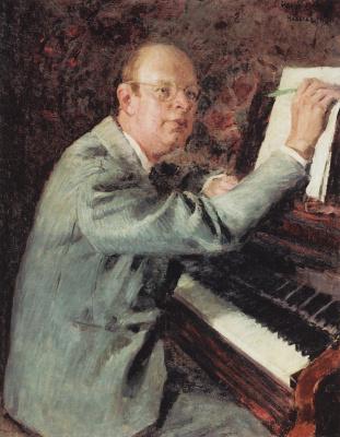 "Igor Nobel Grabar. Portrait of the composer Sergei Prokofiev at work on the Opera ""War and peace"""