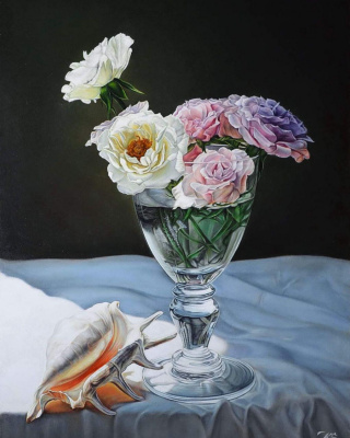 Sergey Kuzmin. Roses and shell