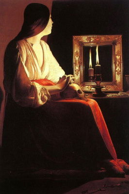 Georges de La Tour. The reflection of the candle in the mirror