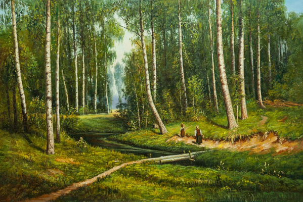 "Savely Kamsky. A copy of Ivan Shishkin's painting ""A stream in a birch forest"""