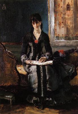 Альфред Стивенс. Дама в черном платье с книгой