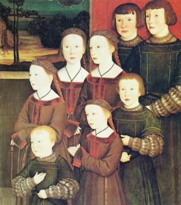Бернхард Штригель. Конрад Релингер-старший со своими восемью детьми, правая доска. Восемь детей Конрада Релингера